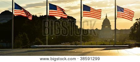 United States Capitol building silhouette and US flags around Washington Monument at sunrise - Washington DC