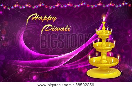 illustration of golden diya stand on abstract background