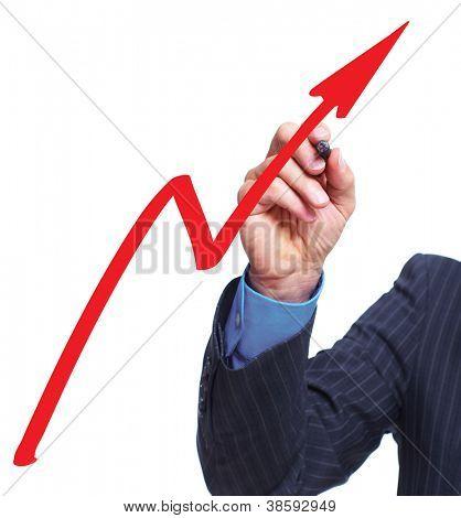 Mão com um gráfico. Fundo do conceito de negócio.