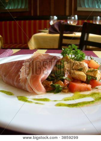 Serrano Ham With Grilled Of Chicken