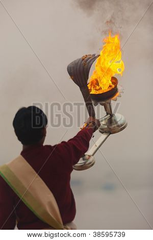 Fire Lantern Hindu Priest Ganges River Prayer