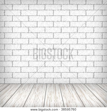 White brick wall with wooden floor in a vintage interior. Vector eps10 illustration
