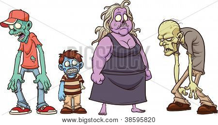 Cartoon zombies. Vector illustration with simple gradients. All in a single layer.