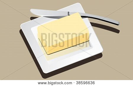 butter on white plate with knife vector