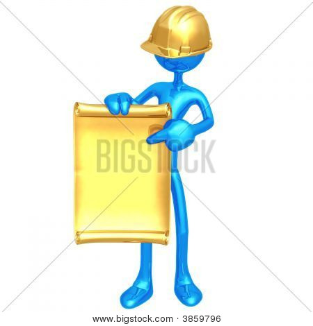 Construction Worker With Blank Scroll