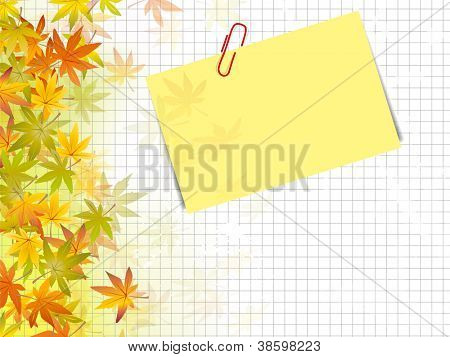 Autumn background design - fall leaves against squared paper texture with post it label