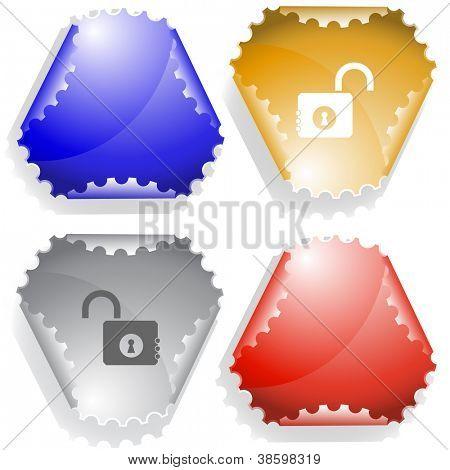 Opened lock. Raster sticker. Vector version is in my portfolio.