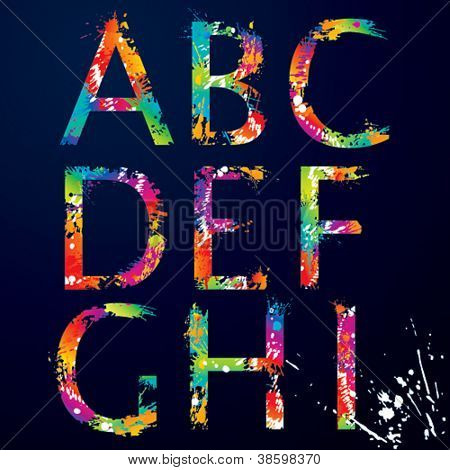Font - Colorful letters with drops and splashes from A to I. Vector illustration.