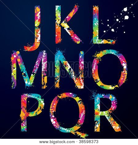 Font - Colorful letters with drops and splashes from J to R. Vector illustration.
