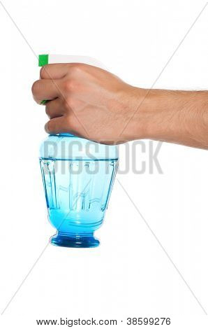 Man hand with plastic spray bottle isolated on white background