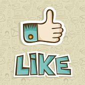 picture of dislike  - I like hand with thumb up in sketch style over pattern background - JPG