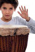 picture of bongo  - Little boy with bongo drum - JPG