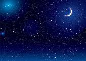 stock photo of moon stars  - Space scene with stars and moon ideal desktop background - JPG