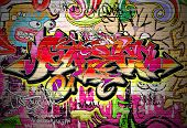 stock photo of street-art  - Graffiti wall vector urban art - JPG