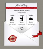 Wedding Vintage Invitation in white envelope
