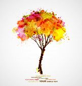 image of slender  - autumn abstract tree forming by blots - JPG