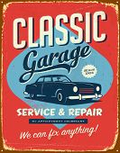 Vintage metal sign - Classic Garage - JPG Version