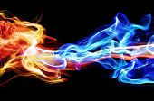 stock photo of fragrance  - Red and blue smoke - JPG