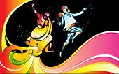 illustration of man and woman playing dandiya with colorful swirl