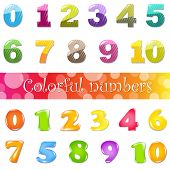 Big Cartoon Numbers Set, Isolated On White Background, Vector Illustration