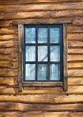 stock photo of chalet interior  - Vintage window on wooden wall - JPG