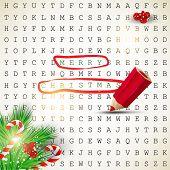 Постер, плакат: Решение головоломки Текст «Merry Christmas» подчеркнул с красным карандашом Векторный фон
