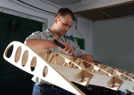 foto of ultralight  - A man works from home - JPG