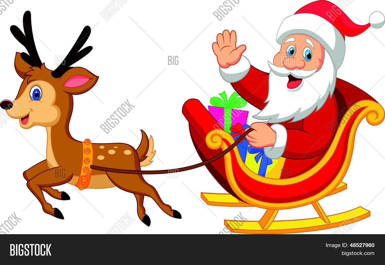 Vector Y Foto Dibujos Animados Santa Conduce Su