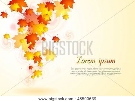 Abstract autumn background with falling leaves. Eps 10 vector design