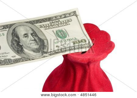 Closeup Of A One-hundred Dollar Bill In A Red Money-box