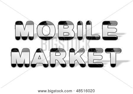 MOBILE MARKET designed with smartphone shaped alphabet letters