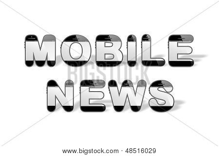 MOBILE NEWS designed with smartphone shaped alphabet letters