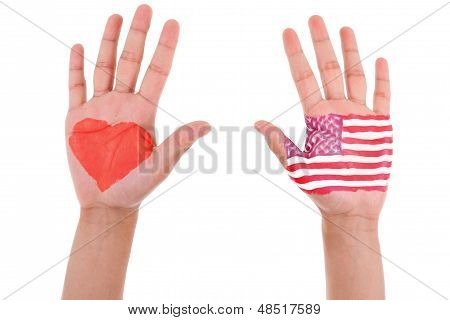 Hands With A Painted Heart And United States Flag, I Love Usa Concept