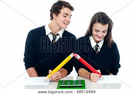 School Boy Copying From His Fellow Student