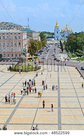 Kiev, Ukraine - Jul 27: Michael's Cathedral And Bogdan Khmelnitsky Monument On July 27, 2013 In Kiev