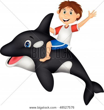 Cartoon boy cartoon riding orca
