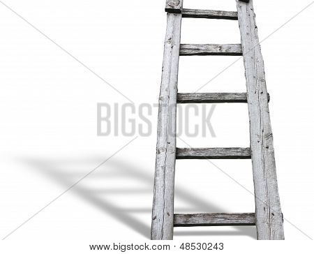 Old Wooden Vintage Cuve Ladder With Shadow Over White