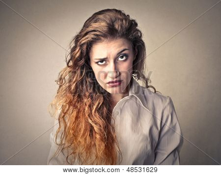 portrait of puzzled woman