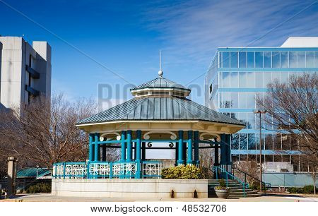Blue Gazebo In City Square