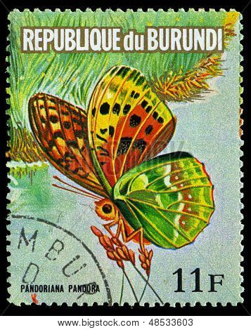 Republic Of Burundi - Circa 1974: A Stamp Printed In  Burundi Shows A Butterfly Pandoriana Pandora,