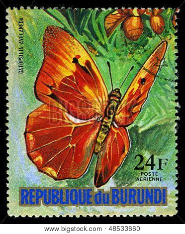 Republic Of Burundi - Circa 1974: A Stamp Printed In Burundi Shows A Butterfly Catopsilia Avelaneda,