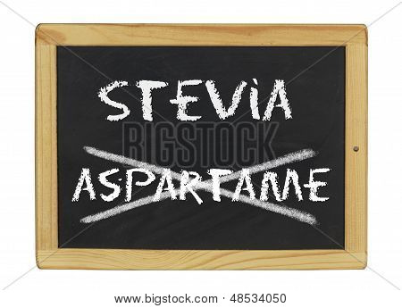 chalkboard with stevia and aspartame written on it