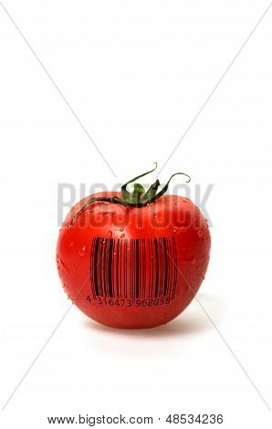 Tomato with barcode on a white background