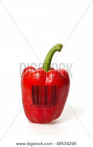 red bell pepper with barcode on a white background