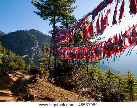 View Of The Taktshang Monastery In Paro (bhutan) With Prayer Flags (focus On Monastery)