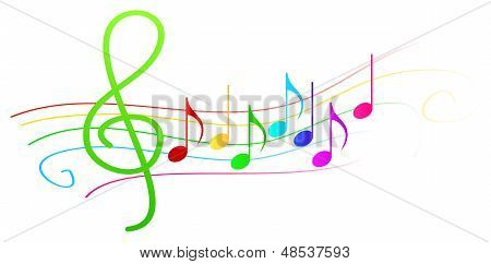 Colorful Musical Notes On Stave