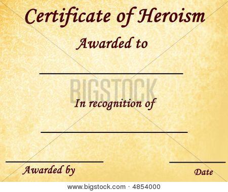Certificate Of Heroism