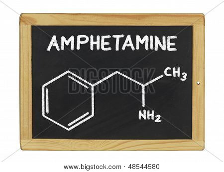 chemical formula of amphetamine on a blackboard