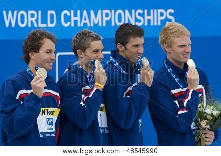 Jul 02 2009; Rome Italy; Aaron Pierson, Ryan Lochte, Michael Phelps and David Walters winners of the mens 4 x 100m medley at the 13th Fina World Aquatics Championships