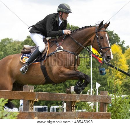 24/06/2011 HICKSTEAD ENGLAND, ADVENTURE DE KANNAN ridden by Trevor  Breen (IRL)  competing in the Bunn Leisure Derby trial at the British Jump Derby Equestrian meeting at Hickstead West Sussex England